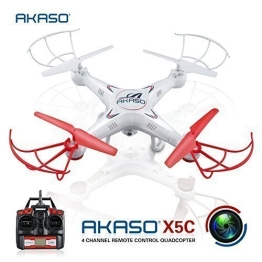 AKASO X5C 4 CH 2,4 GHz 6-Achsen Fernbedienung Quadcopter mit HD Kamera, Gyro Headless, 360-degree 3D Rolling Mode 2 RTF RC Drohne ( Bonus MicroSD Karte & Rotorblätter enthalten ) - 1