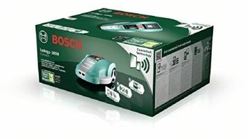 Bosch Mähroboter HomeSeries Indego 1000 Connect, 200m Begrenzungsdraht, 400 Befestigungshaken, Ladestation, 4 Befestigungsnägel, 2 Kabelverbindungen, Netzteil, Karton, 2 Lineale am Karton - 2