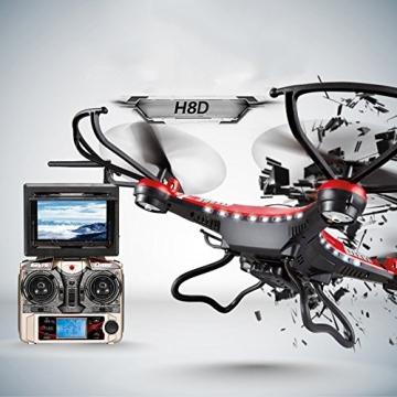 G-Lighting® JJRC H8D 4-Kanal 2,4 GHz RC Quadrocopter Gyro mit integriertem 6 Axis Gyro System ascend/descend/forward/backward/side flying/360°rolling action/hover/3D/LED/2.0MP-HD-Kamera/5.8G transmission/CF mode/One key return-möglich Nachtfliegen (Ein Pack+2pcs 500mAh Batterie+4pcs Blades) - 2