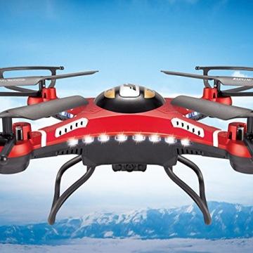 G-Lighting® JJRC H8D 4-Kanal 2,4 GHz RC Quadrocopter Gyro mit integriertem 6 Axis Gyro System ascend/descend/forward/backward/side flying/360°rolling action/hover/3D/LED/2.0MP-HD-Kamera/5.8G transmission/CF mode/One key return-möglich Nachtfliegen (Ein Pack+2pcs 500mAh Batterie+4pcs Blades) - 3
