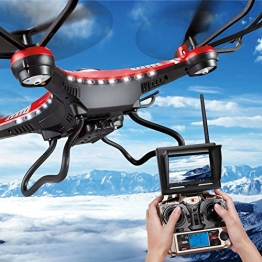 G-Lighting® JJRC H8D 4-Kanal 2,4 GHz RC Quadrocopter Gyro mit integriertem 6 Axis Gyro System ascend/descend/forward/backward/side flying/360°rolling action/hover/3D/LED/2.0MP-HD-Kamera/5.8G transmission/CF mode/One key return-möglich Nachtfliegen (Ein Pack+2pcs 500mAh Batterie+4pcs Blades) - 1