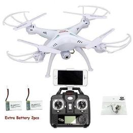 HB HOMEBOAT®Syma X5SW Wifi FPV Video Live-Übertragung Neueste RC Quadcopter UAV Drone RTF UFO mit FPV Kamera (weiß, Mode 2) +HB HOMEBOAT Akku 2pcs + Geschenk HB HOMEBOAT Motor-Set - 1