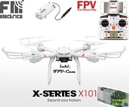 MJX X101 von FM-electrics | XXL - Quadrocopter mit Wifi FPV Kamera in HD und riesen Reichweite, Mit Headless-Mode und One-Key Return, Sonderedition mit Fernsteuerung für Mode 1-4, Looping-Funktion, mit C4010 Wlan Kamera in HD - 1