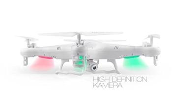 Syma X5C EXPLORER (Forscher) Weiße Sonder-Edition mit Zusatz-Akku und HD Kamera mit Tonaufzeichnung - 3D Quadrocopter Drohne, mit Motor-STOPP-Funktion & Akku-Warner, 360° Flip Funktion, 2.4 GHz, 4-Kanal, 6-AXIS Stabilization System - 3