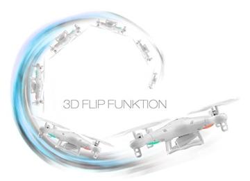 Syma X5C EXPLORER (Forscher) Weiße Sonder-Edition mit Zusatz-Akku und HD Kamera mit Tonaufzeichnung - 3D Quadrocopter Drohne, mit Motor-STOPP-Funktion & Akku-Warner, 360° Flip Funktion, 2.4 GHz, 4-Kanal, 6-AXIS Stabilization System - 4