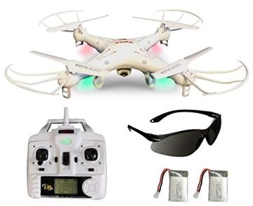 Syma X5C EXPLORER (Forscher) Weiße Sonder-Edition mit Zusatz-Akku und HD Kamera mit Tonaufzeichnung - 3D Quadrocopter Drohne, mit Motor-STOPP-Funktion & Akku-Warner, 360° Flip Funktion, 2.4 GHz, 4-Kanal, 6-AXIS Stabilization System - 1