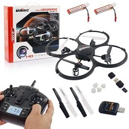 UDI U818A HD UPGRADE- RC UFO mit Akku und Camera - 3D Quadrocopter - Drohne 2,4Ghz - mit 4GB MicroSD Karte (Schwarz mit 2 Akkus) - 1